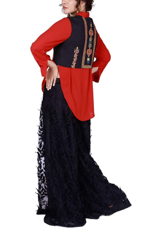 Huma Adnan - Red Silk Intricately Embriodered Vest With Pants