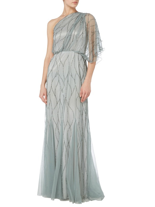 Raishma - Slate Net Beaded Evening Gown