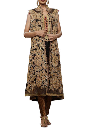 Shamaeel - Hand Embroidered Mid Length Coat With Inner Slip & Pants