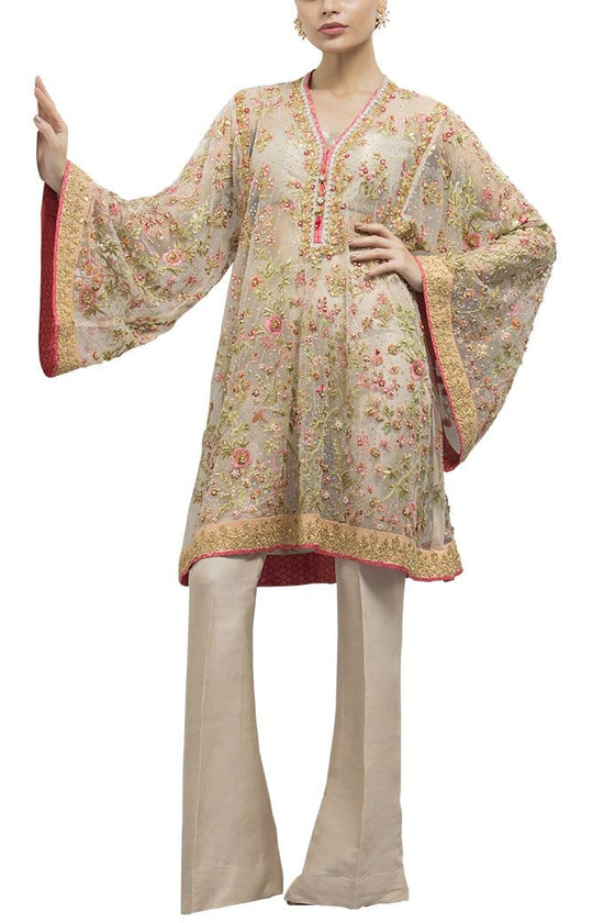 Sania Maskatiya - Indian Net Embroidered Shirt
