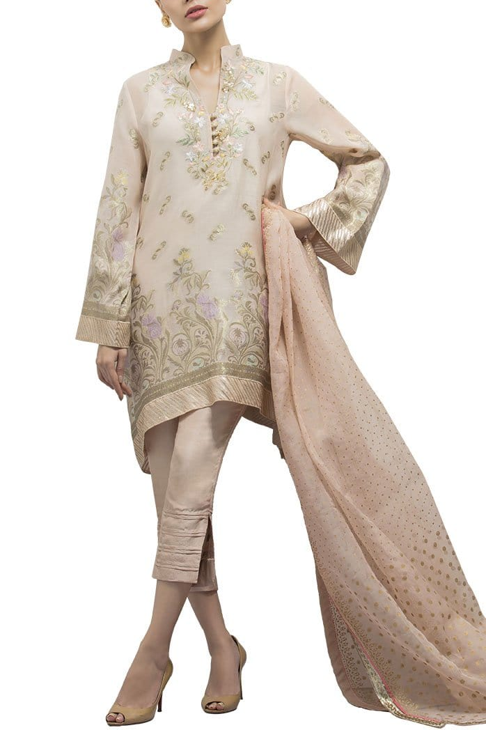Sania Maskatiya - Organza Woven Embroidered Shirt