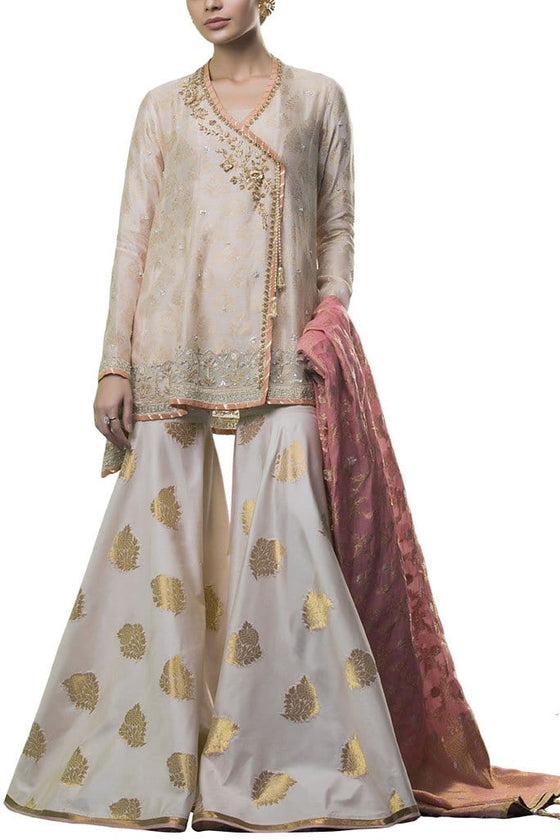 Sania Maskatiya - Cotton Net Woven Embroidered Angrakha