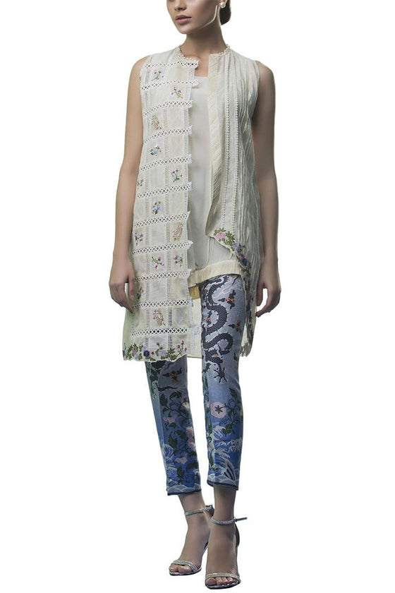 Sania Maskatiya - Cotton Net Self Printed Coat Slip