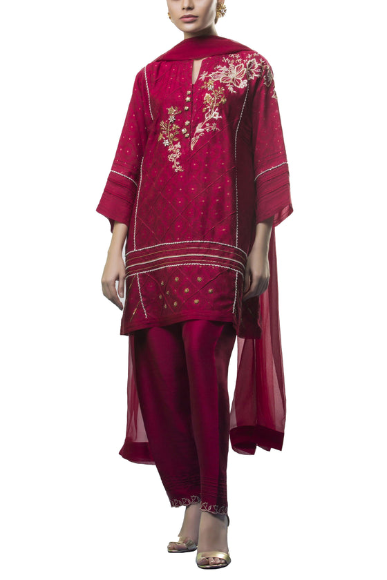 Sania Maskatiya - Cotton Net Self Printed Shirt