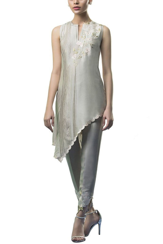Sania Maskatiya - Raw Silk Asymmetric Shirt