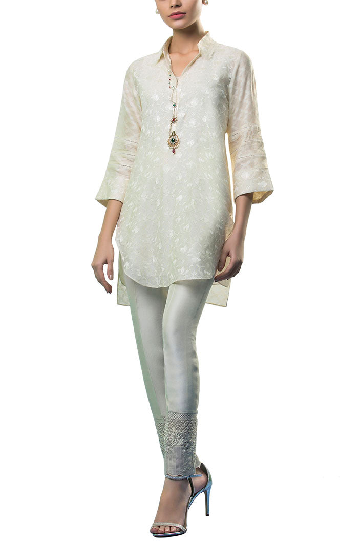 Sania Maskatiya - Cotton Net Embroidered Shirt