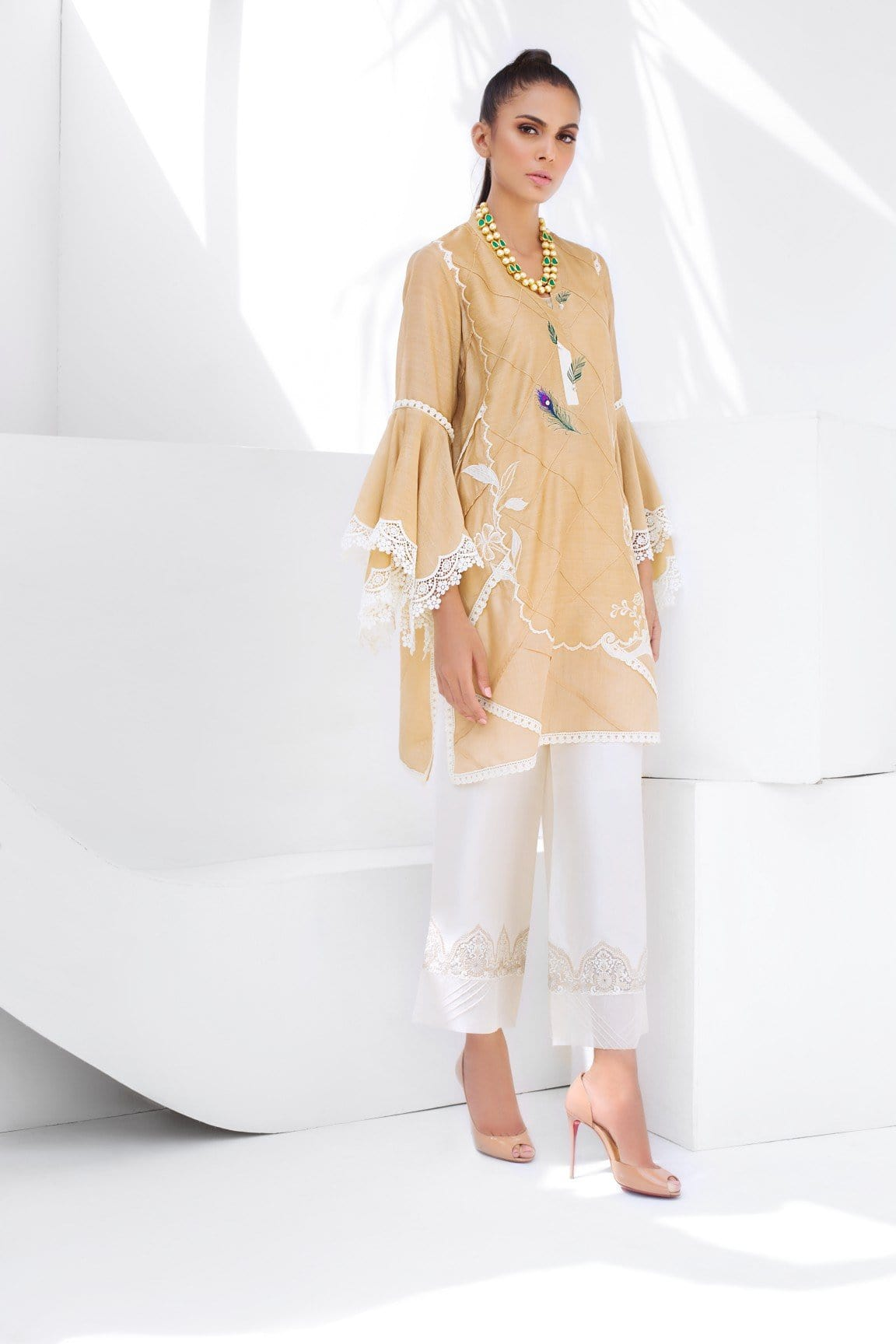 Sania Maskatiya - Cotton Net Floral Embroidered Straight Short Shirt