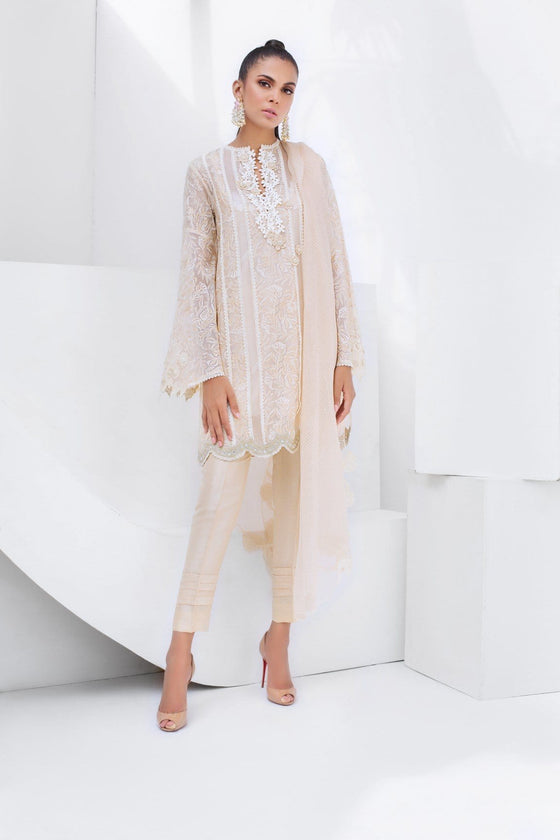 Sania Maskatiya - Organza Embroidered Straight Short Shirt