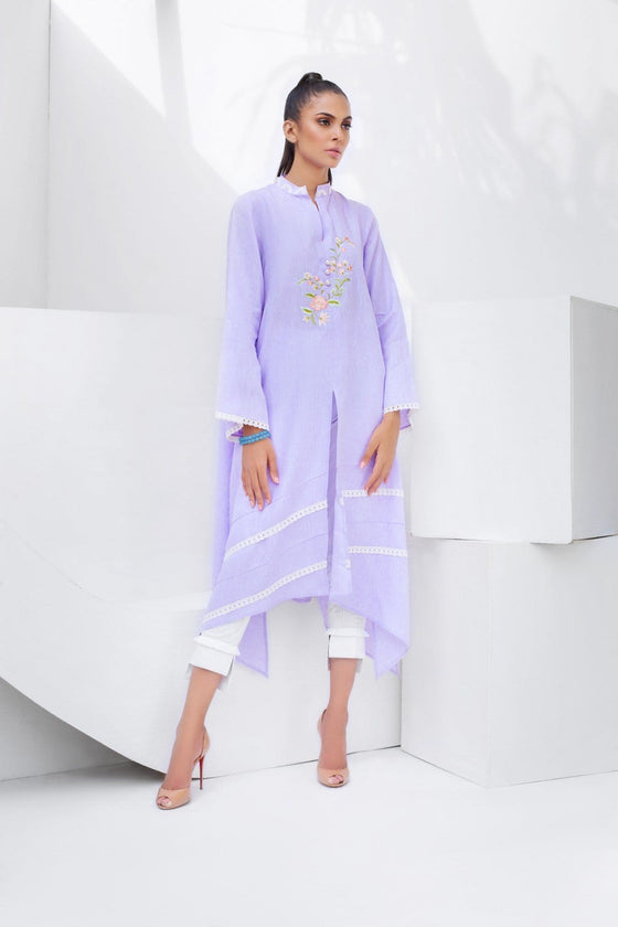 Sania Maskatiya - Linen Shirt with Floral Embroidery