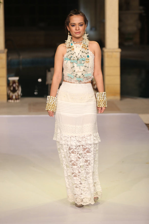 Huma Adnan - Lace Long Dress