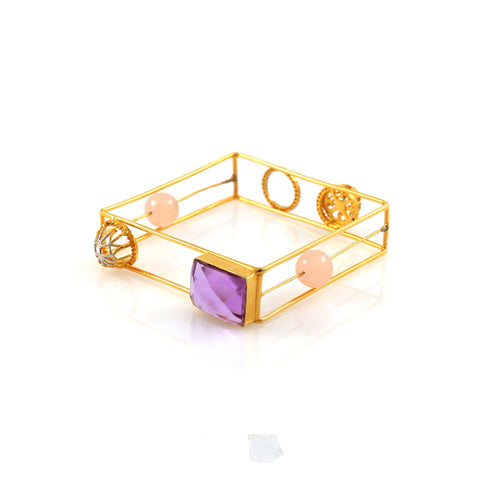 Rema Luxe - Gold Brass Metal Aerial Cube Bangle