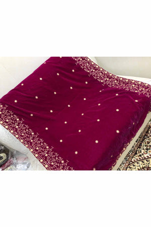 Designs by Amina - Dark Pink Velvet Shawl