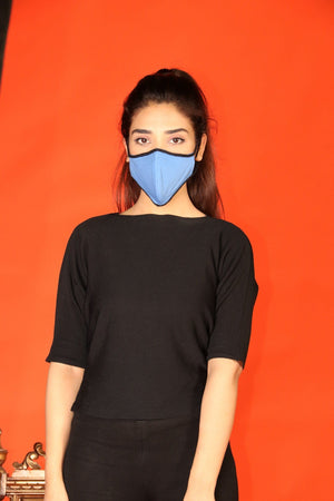 Huma Adnan - Denim Blue Basic Mask