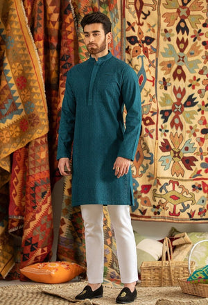Republic by Omar Farooq - Teal Green Kurta