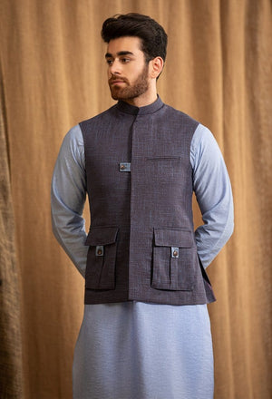 Republic by Omar Farooq - Two Tone Purple Waistcoat