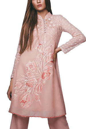 Sanam Chaudhri - Pink Umbrella Voile Embroidered Tunic With Bootleg Trousers