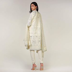 Rizwan Beyg - White Dori Hand Embroidered Kali Shirt with Dupatta