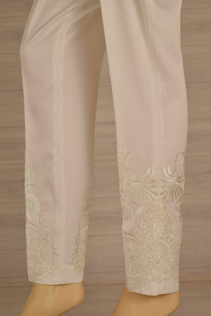 Wov - Off White Cg Pol Emb Lace Pant - 1 PC