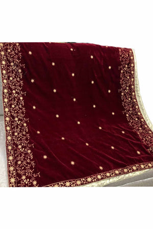 Designs by Amina - Maroon Velvet Shawl