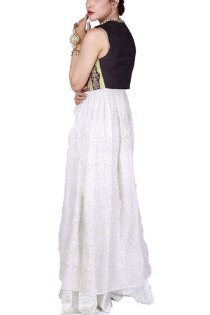 Huma Adnan - Ivory Long Resort Chiffon Dress