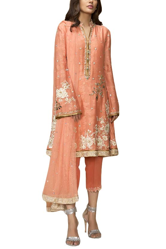 Sania Maskatiya - Cotton Net Embroidered Shirt & Dupatta