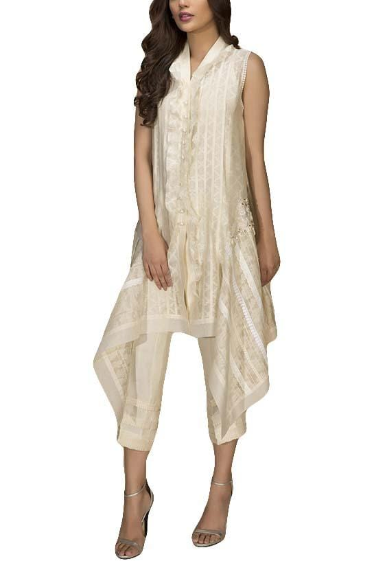 Sania Maskatiya - Cotton Net Self-Printed Shirt