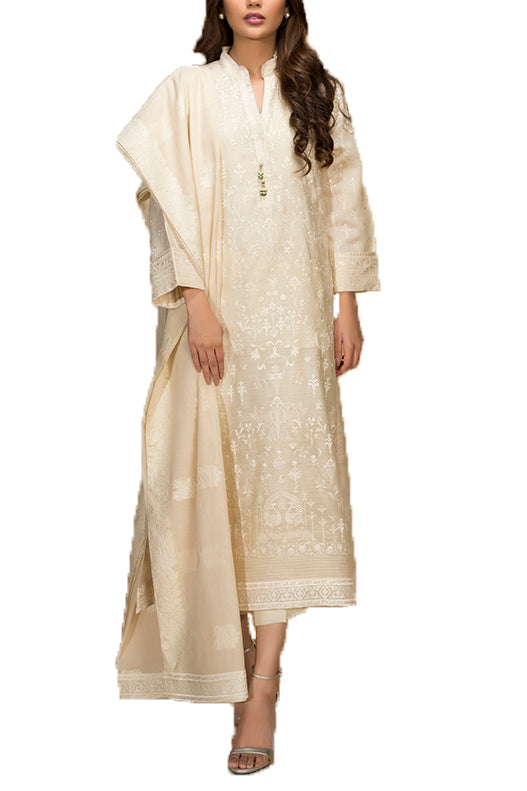 Sania Maskatiya - Cotton Net Floral Embroidered Shirt & Dupatta