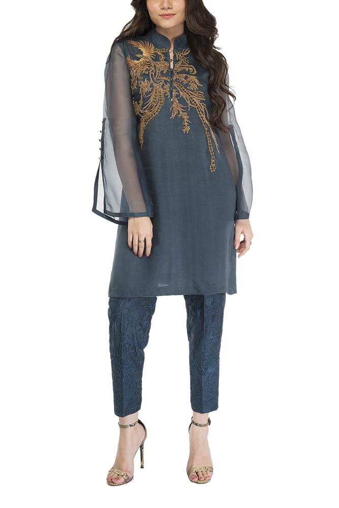 HSY - Teal Embellished Shirt With Split Sleeve Detail And Cigarette Trousers