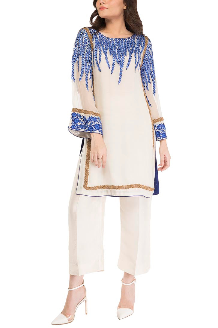 HSY - Ivory Embroidered Shirt With Straight Trousers