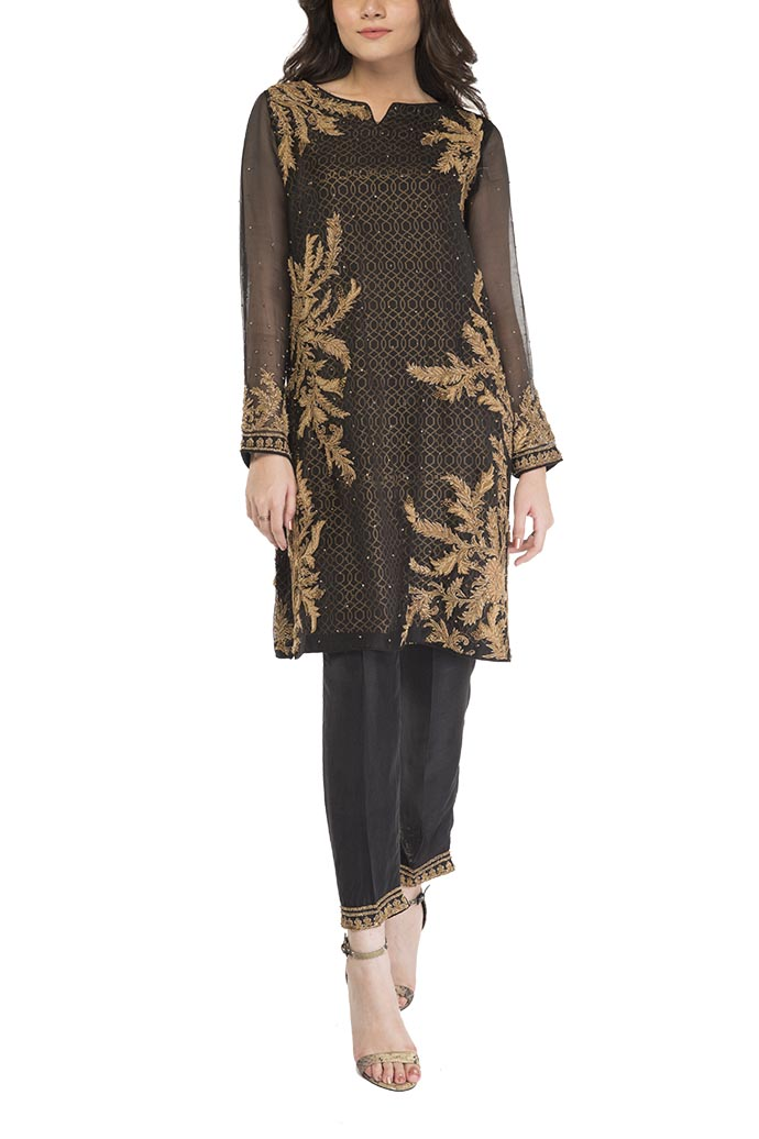 HSY - Black Embellished Shirt With Straight Trousers