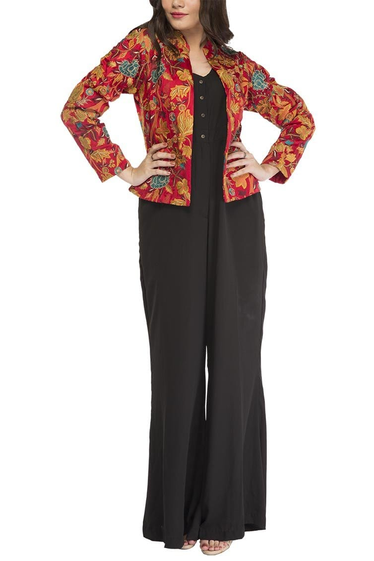 Fnkasia - Red Multi Embroidered Silk Jacket