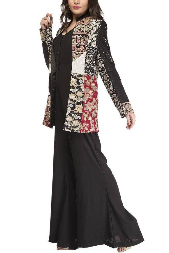 Fnkasia - Black Multi Tiered Embroidered Silk Jacket