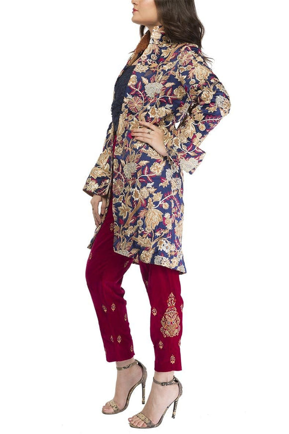 Fnkasia - Blue Multi Embroidered Silk Jacket