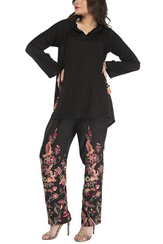 Fnkasia - Black Multi Embroidered Georgette Pant