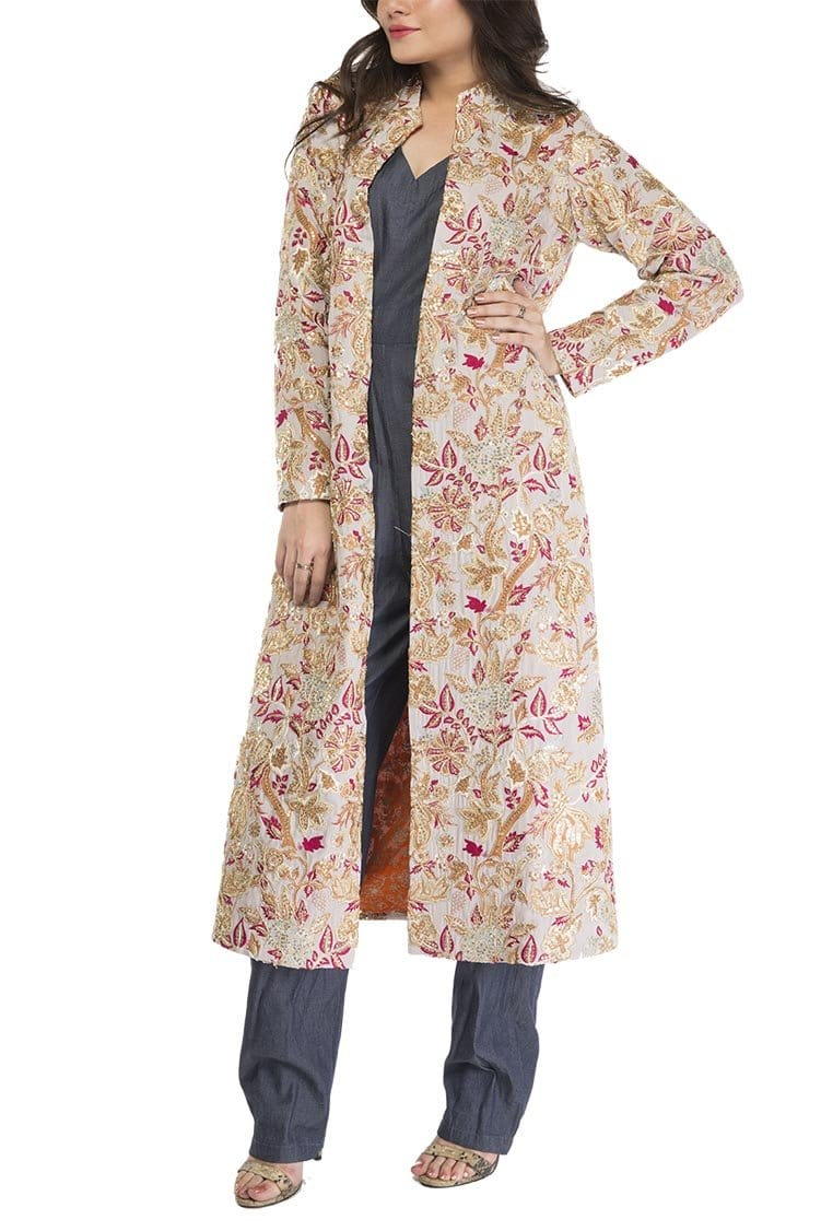 Fnkasia - Light Grey Embroidered Long Georgette Jacket