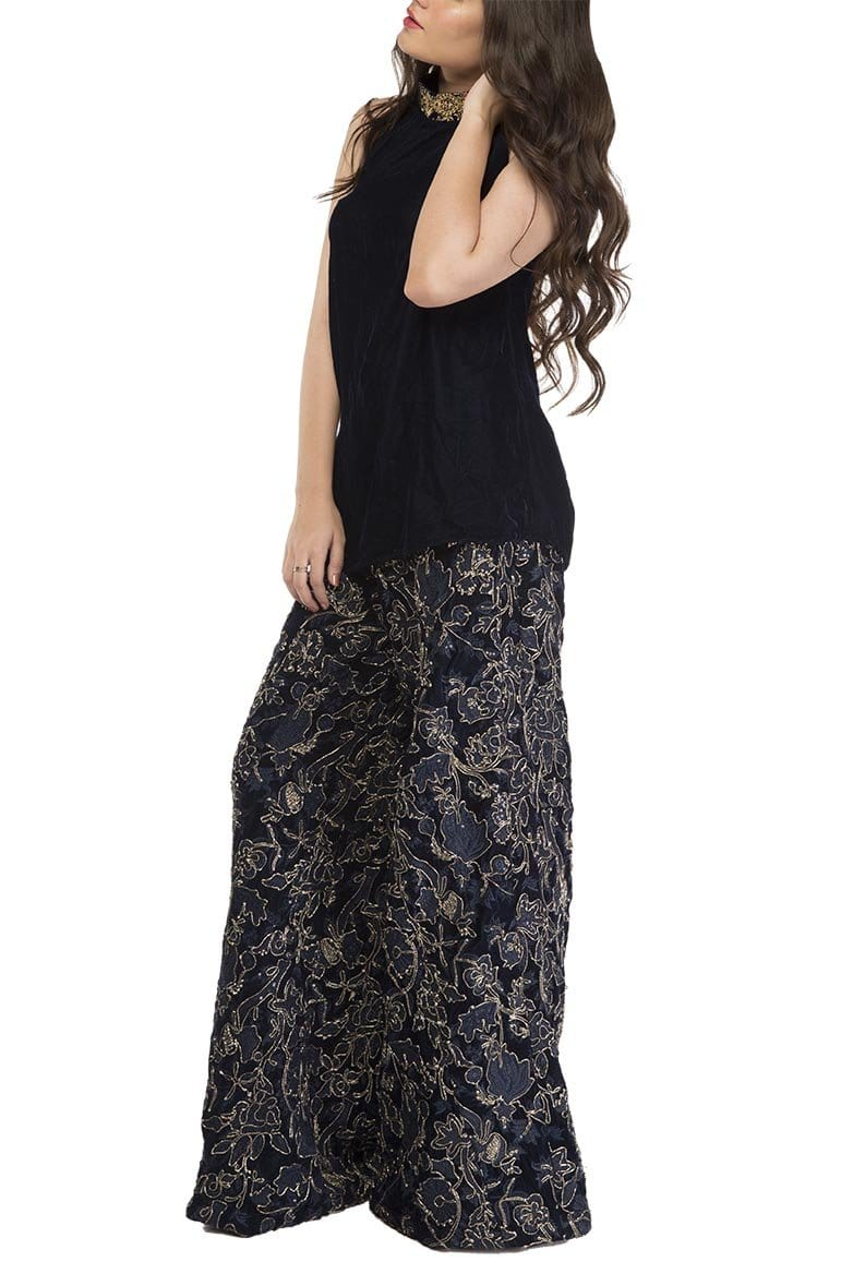 Fnkasia - Blue Velvet Embroidered Pants