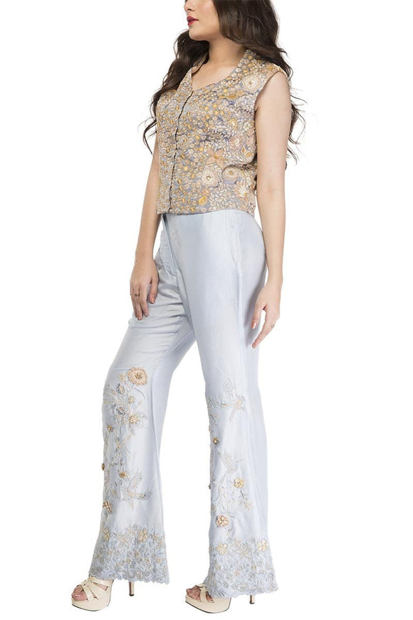 Fnkasia - Light Grey Full Embroidered Silk Top