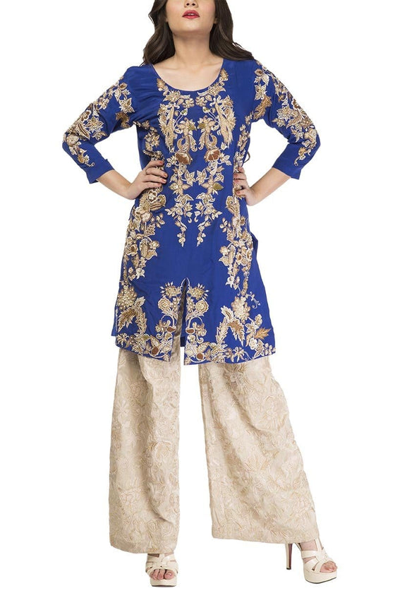 Fnkasia - Blue Front Open Embroidered Silk Shirt