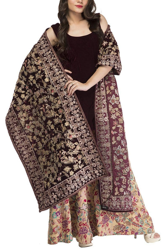 Fnkasia - Maroon Fully Embroidered Velvet Shawl