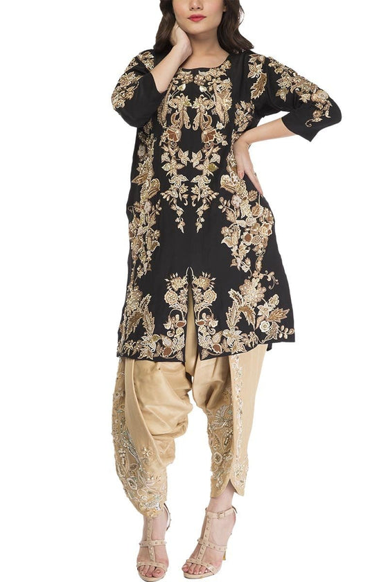 Fnkasia - Black Silk Front Open Embroidered Shirt With Beige Embroidered Silk Tulip Shalwar