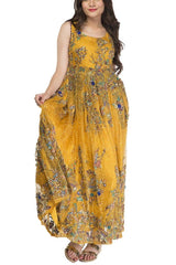 FNKASIA - Yellow Full Embroidered Long Organza Gown