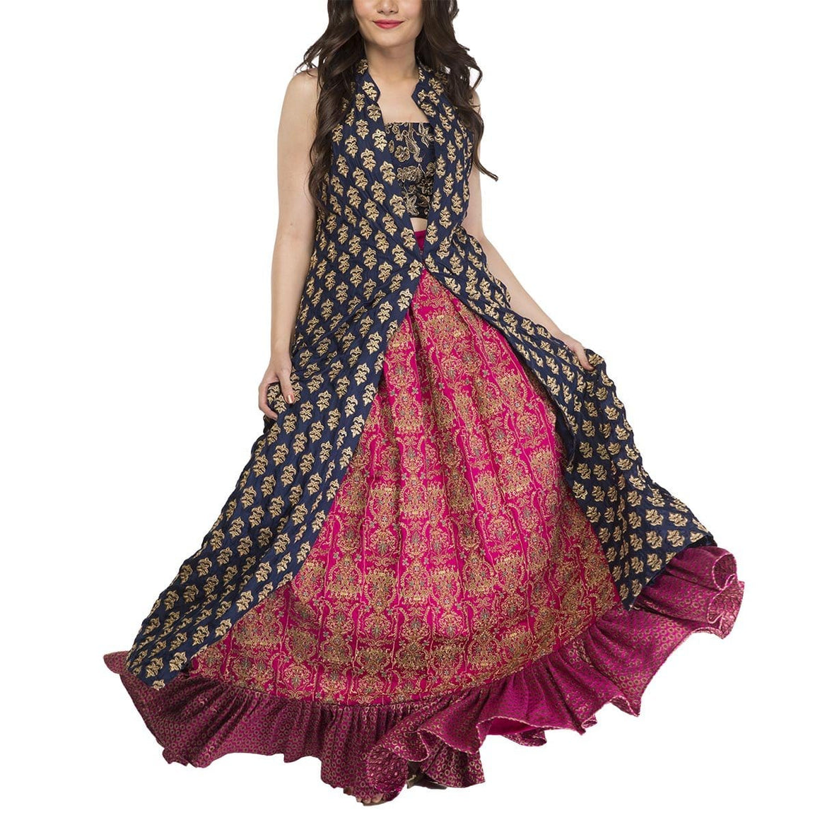 Fnkasia - Fuchsia Full Embroidered Jamawar Skirt