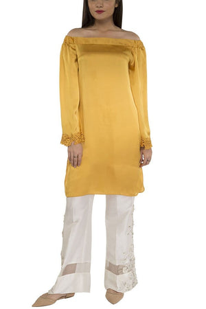 Maheen Ghani Taseer - Off The Shoulder Raw Silk Shirt