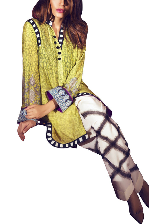 Sania Maskatiya - Cotton Net Digital Printed Shirt With Crepe Shalwar
