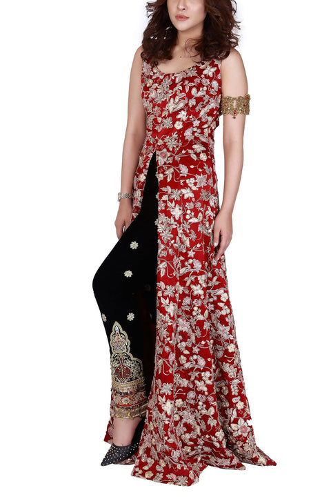 FnkAsia - Maroon Heavily Embelished Silk Gown With pants