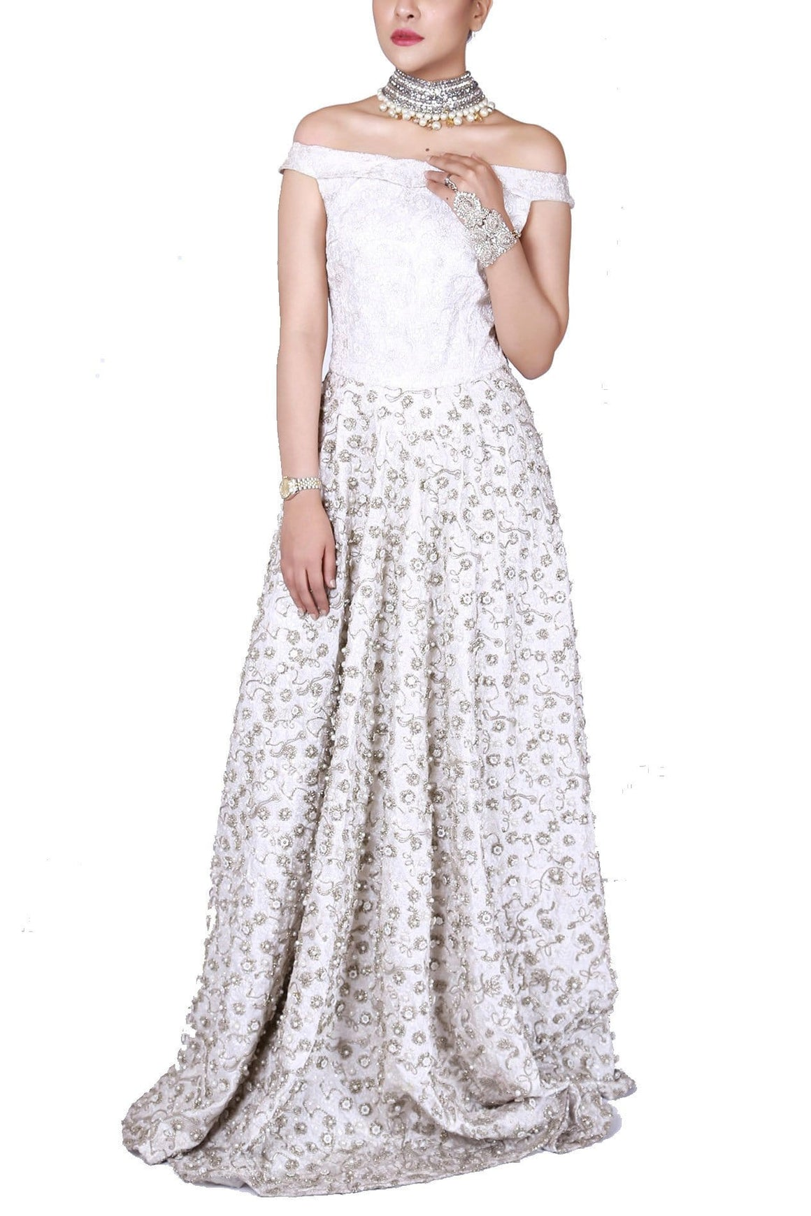 FnkAsia - Ivory Off Shoulder Richly Embellished Gown