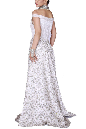 Huma Adnan - Ivory Off Shoulder Richly Embellished Gown