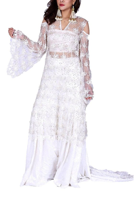 FnkAsia - Ivory Hand Detailed Shirt With Silk Gharara Pants