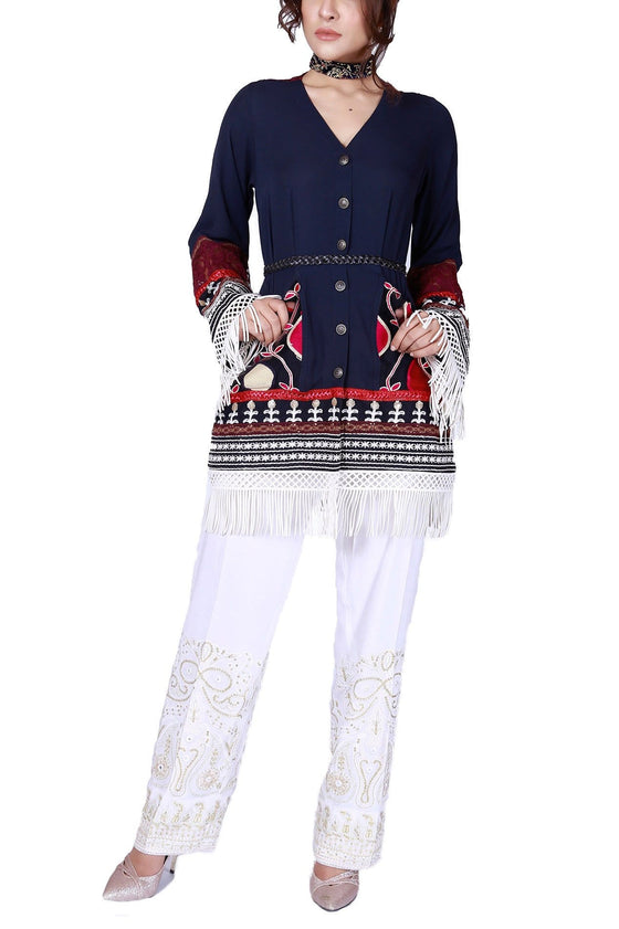 FnkAsia - Blue Georgette Shirt With Pants