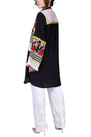 Huma Adnan - Black Georgette Shirt With Pants
